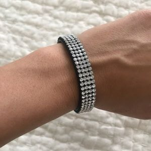 Swarovski leather snap bracelet